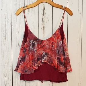 UO Sparkle & Fade Tiered Flowy Print Tank Top Med
